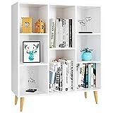 Homfa Bücherregal, Regal mit 8 Fächer, Standregal Schrank Raumteiler Kinderregal 80x29.5x93cm weiß