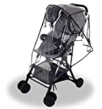 Wemk Regenverdeck für Kinderwagen, Universal Regenverdeck mit 3 Lüftung Fenster, PVC-frei, Einfache Befestigung, Gute Luftzirkulation - Größe L