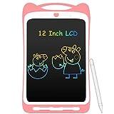 AGPTEK Bunte Schreibtafel LCD Kinder12 Zoll Bildschirm, Elektronisches Schreibtablet mit hellere Schrift, Digitale Maltafel mit Anti-Clearance Funktion, Kinder Rosa