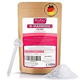 RAIBU® D-Mannose Pulver - 200g (3,3 Monate Vorrat) I D Mannose Pulver in Deutschland abgefüllt I Natürlich, Vegan, GMO-frei & Laborgeprüft I Extra Dosierlöffel