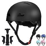 SKATERHELM FÜR INLINER Kinder Skateboard-Helm, Scooter-Helm Gr. 54-58, Skater Helm, Fahrradhelm - Verstellbarer BMX-Helm, mit Drehrad-Anpassung Schwarz