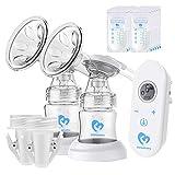 Milchpumpe, Elektrische Milchpumpe mit LED-Touchscreen, Massage & Speicherfunktion von 2 Modi, 2400mAh Batterie, 10-teiligen Milchbeuteln, BPA-frei …