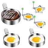 Veraing 6 Stück Pancake Form Egg Ring, Spiegeleiform Edelstahl Omelettform Kochen Antihaft Bratring für Pochierte Eier Antihaftbeschichtung für Pfannkuchen Omeletts und Mehr (2 Größe)