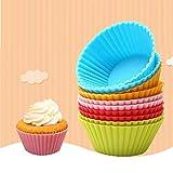 Litthing 12 Stück Cupcake-Formen aus Silikon, 7cm Muffinförmchen,Wiederverwendbare Backformen aus Silikon, Cupcakeförmchen Backförmchen,Muffin Förmchen für Kuchen, EIS, Puddings, Gelee