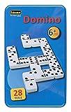 Idena 6050012 - Domino Spiel mit 28 Steinen, in einer Metallbox, mit Spielanleitung, Legespiel für spannende Spielrunden zuhause und auf Reisen