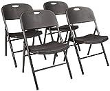 AmazonBasics Klappbarer Kunststoff-Stuhl, 157,5 kg Tragkraft, Schwarz, 4er-Set