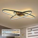 GBLY LED Dimmbar Deckenleuchte Modern Schwarz Wohnzimmerlampe Warmweiß/Neutralweiß/Kaltweiß 70W Innen Dekorative Deckenbeleuchtung für Wohnzimmer, Schlafzimmer, Küche und Büro