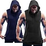 COOFANDY Herren Tank Top Ärmelloser Workout Sport Fitness Hoodie Muskelshirt für Gym Training 2er Pack