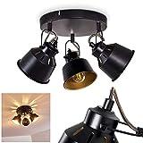 Deckenleuchte Safari, runde Deckenlampe aus Metall in Schwarz/Gold, 3-flammig, mit verstellbaren Strahlern u. Lichteffekt, 3 x E14-Fassung max. 40 Watt, Spot im Retro/Vintage Design, LED geeignet