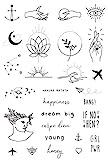 Temporäre Tattoos von Tatsy, Tattoo Set, Schlichte Motive für Frauen und Männer, Originales, einzigartiges Design, Modern, Hipster, Minimalistisch, Schrift, Anker, Herz, Hände, Wasserfeste Tattoos