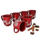 MamboCat 6er Set Glühweinbecher 0,2L rot Weihnachtslandschaft | Klassische Porzellan Glühweintassen | geeicht | ideal für den Weihnachtsmarkt - den Profi & Gastronomiebedarf