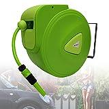 HENGMEI Schlauchtrommel Mobile Gartenschlauch mit 20m + 2m Schlauch - Schlauchaufroller Automatischer Schlauchbox 180°schwenkbar für Bewässerung, Autowäsche