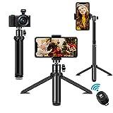 Handy Stativ, SYOSIN Extendable Selfie Stick und Stativ in einem, Smartphone Stativ mit Handy Halterung und Bluetooth Fernbedienung Fernbedienung für iPhone Samsung und Kamera