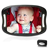 Baby-Autospiegel, auf die Rückbank gerichteter Spiegel mit Blick auf Ihr Baby, 360°-drehbar, verstellbar, mit Fernbedienung und weichem LED-Licht, bruchsicher