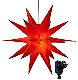 XXL Ø 100 cm 3D Leuchtstern inkl. warm-weißer LED Beleuchtung und Timer | für Innen und Außen geeignet (IP44) | hängend | 7,5 m Zuleitung (rot)