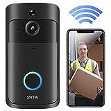 Video Türklingel mit Kamera, Video Türsprechanlage HD, IP66 Wasserdichte, PIR Bewegungserkennung, Zwei Wege Gegensprechfunktion, WiFi Verbindung Funkklingel für Heimsicherheit