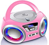Tragbarer CD-Player | Boombox | CD/CD-R | USB | FM Radio | AUX-In | Kopfhöreranschluss | CD Player | LED-Discolichter | Kinder Radio | CD-Radio | Stereoanlage | Kompaktanlage (Pretty Kitty Pink)