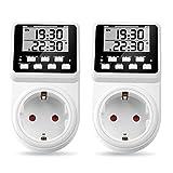 2 x NOVKIT Intervall Digitale Zeitschaltuhr Steckdose mit unendlicher Zyklus(Minimale Einstellungszeit ist 1 Sekunde), 3 Täglichen Programme und Countdown für Innen (230V / 16A /3600W)