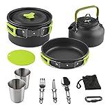 Aitsite Camping Kochgeschirr Kit Outdoor Aluminium Leichte Camping Pot Pan Kochen Set für Camping Wandern (Green)