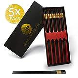 JP Design 5er Set japanische Premium Essstäbchen - nachhaltige und spülmaschinenfeste Chopsticks - inklusive Edler Geschenkbox + Gratis E-Book mit tollen Sushi Rezepten