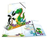 HERMA 19795 Sammelmappe DIN A3 Kindergarten Dinos aus stabilem Karton mit bedruckten Innenklappen, Gummizugmappe, Eckspanner-Mappe, 1 Zeichenmappe für Kinder