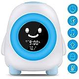 Kinder Lichtwecker, Kinderwecker Wake Up Lichtwecker, Kinder schlafen Trainer mit 7 Farben Ändern,Kindertagesgeschenk für Kinder, Aufladen USB (Blau)