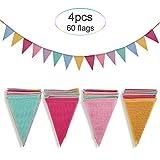 Crislove Wimpelkette, 4er Pack 5M Mehrfarbig Dreieck Flaggen, 15 Farben jedes Banner, Leinenimitat Wimpel für Geburtstag Party Hochzeit Dekoration Indoor Outdoor
