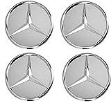 Generic 4 Stück 75mm Schwarz Ersatzteil Nabendeckel Radnabenkappen Felgendeckel für Mercedes Benz Felgenkappen Nabenkappen Wheel Caps Radnabenabdeckung