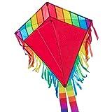 CIM Kinder-Drachen - Maya Eddy RED - Einleiner-Flugdrachen für Kinder ab 3 Jahren - 65x72cm - inkl. 80m Drachenschnur und 2x250cm Streifenschwänze