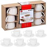 alpina Set Espressotassen mit Untertassen, Keramik, Weiss, 31 x 17.5 x 7 cm, 12-Einheiten