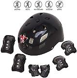 Voker Helmet Skate Protektoren Set,Skateboard Helm Kinderhelm Set 7 in 1 Schoner Set Protektoren Set mit K (Schwarz, M:6-14Jahre alt)