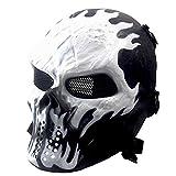 Halloween Full Face Skeleton Maske, Airsoft Maske, Taktische Paintball Maske, fur Softair CS Partyspiel (Black Metallgitter Augenschutz)