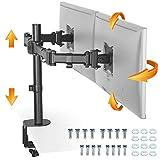 RICOO TS5811, Monitor Halterung 2 Monitore, Schwenkbar, Neigbar 15-27 Zoll (38-69cm) Tischhalterung Ständer, Stand Erhöhung, VESA 100x100, Schwarz