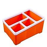 N-K Delikat Kunststoff Aufbewahrungsbox 4-Fach Heimtextilien Schlafzimmer Kosmetik Multifunktionale Desktop Bleistift Papier Sammelkorb - Orange Umweltfreundlich und praktisch
