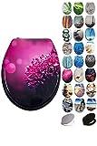 Grafner® MDF WC Sitz viele schöne Motive zur Auswahl - stabile Qualität - einfache Monatge WC Deckel Klobrille (Pink Dahlia)