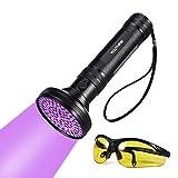 UV Taschenlampe Schwarzlicht 100 LEDs 395nm Ultraviolet Lampe mit UV-Schutzbrille Mini Ultraviolett Licht Urin detektor für Hunde & Katzen, Aufsuchen von Fleck auf Teppichen, Gardinen, Mbel