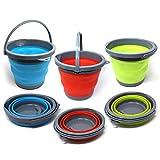 Set von 3 Premium Faltbarer Eimer, Tragbarer Haushaltsbehälter, 5 Liter - Putzeimer für Waschen, Haushalts-Reinigung, Outdoors, Fischen & Camping, Wohnmobil, Reise.