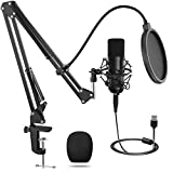 Kondensatormikrofon, Professionelles USB-Mikrofon mit Verstellbarem Ständer, 192 kHz / 24-Bit-Kondensator-PC-Laptop-Mikrofon-Kit, Geeignet für Aufnahme, Podcasting, Heimstudio, YouTube