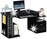 SixBros. Büroschreibtisch, praktischer Schreibtisch mit viel Platz, Tischaufsatz, Hochglanz schwarz, Computerschreibtisch, 152 x 60 cm S-202A/736