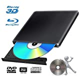 Externes Blu Ray DVD Laufwerk Brenner 3D USB 3.0 Tragbare Ultra Slim BD/CD/DVD RW Player Disc für Windows 10/7/8.1 / Vista/XP/Mac OS Linux, PC