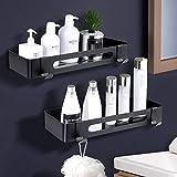 ZOYJITU Duschablage Ohne Bohren Duschkorb Selbstklebend Duschregal aus Edelstahl für Badezimmer,mit 2 Haken Badregal Ablage Dusche für Bad 2 Stück (Black)