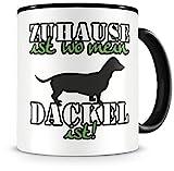 Samunshi® Dackel Tasse mit Spruch Zuhause ist Dackel Geschenk für Dackel Fans Kaffeetasse groß Lustige Tassen zum Geburtstag schwarz 300ml
