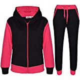 A2Z 4 Kids® Kinder Trainingsanzug Mädchen Jungen Designer Plain Kontrast - T.S Plain 101 Pink 7-8