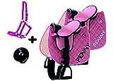 der-pferdeshop Sattelset für Shetty oder Pony mit Namen und Motiv selbst gestalten (Rosa mit Halfterset)