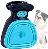 Tragbare Hundekotgreifer Sammler Faltbare mit Abfallbeutel Spender | Faltbarer Hundekotschaufel mit Hundeabfallbeutel (L, blau)
