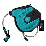 DURHAND Wandschlauchbox Schlauchtrommel 180° schwenkbar mit Multibrause Frostschutz -5–45 °C Kunststoff Grün + Schwarz 15 m