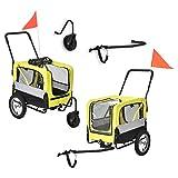 Pro-Tec Fahrradanhänger 2 in 1 Anhänger Jogger Hundeanhänger bis zu 40 kg Hunde Transport Wasserabweisend mit Wind- und Regenschutz Gelb/Grau/Schwarz