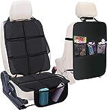 Autositzauflage, Wemk Kindersitzunterlage und Rückenlehnenschutz, ISOFIX Geeignet, Universeller Autositzschoner für Textil- und Ledersitze, Wasserabweisend, Rutschfest, Halten Sie Ihr Auto glänzend