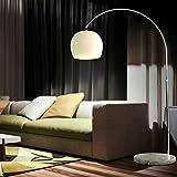 CCLIFE LED E27 Bogenlampe höhenverstellbar Marmorfuß weiß orange Stehlampe Stehleuchte Standleuchte Bogenleuchte Bogenstandleuchte, Farbe:Weiss