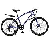 Mountainbikes Jugendfahrrad 26 Zoll 21 Gang Fahrräder Shimano, Scheibenbremse, Federgabel Fahrrad Erwachsene Vollfederung MTB Schaltung Dual Scheibenbremsen (Blau)